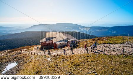 Snezka, Giant Mountains - October 12, 2019: Tourists Hiking In Giant Mountains, Czech: Krkonose. Vie
