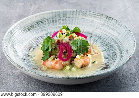 Shrimp Ceviche Seviche Latin America Style With Peppers And Onion, Shrimp Ceviche Close Up, Food Ecu