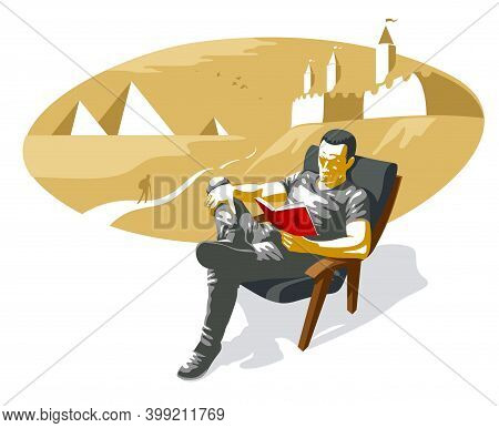Young Man Reading Historical Novel Book About Fortresses And Egypt Pyramids Vector Illustration Isol