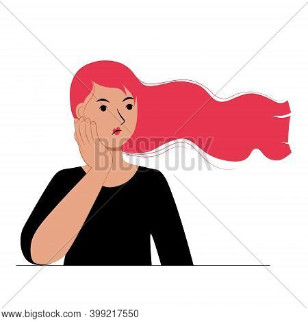 Young Woman Holds Her Cheek With Her Hand. Sad Puzzled Upset Girl. Negative Emotions. Toothache. Cha