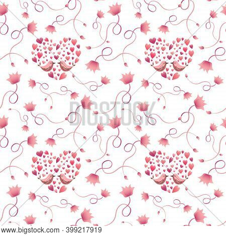 Pattern With Pink Birds And Hearts. Festive Decorations - For Valentines Day, Wedding Or Birthday. V