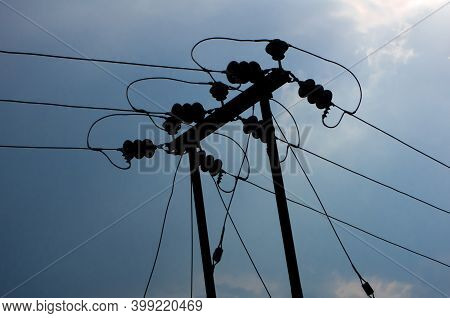Electricity Pole And Clear Blue Sky In Darjeeling
