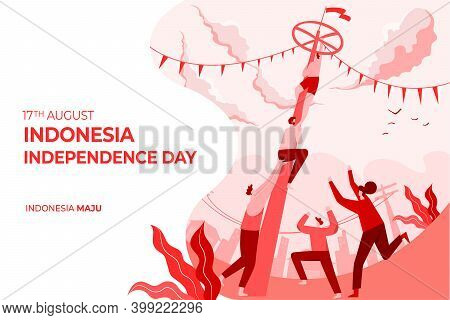 Indonesia Independence Day Greeting Card With Traditional Games Concept Illustration. Indonesia Maju