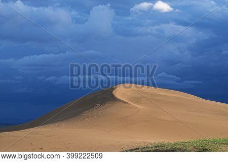 Barkhans in Mongolia. Sandy dune desert Mongol Els near lake Durgen Nuur. Khovd province, Western Mongolia.