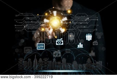 Businessman Pointing Smart City Communication Connect Technology Concept.nternet Of Things (iot) Tec