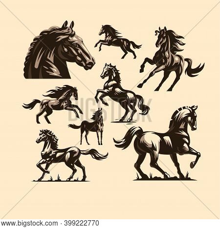 A Set Of Horses In Different Poses. Stylized Vector Illustrations.