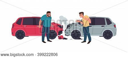 Car Accident. Automobiles Crash, Transport Collision. Cartoon Aggressive Men Shouting. Isolated Smas