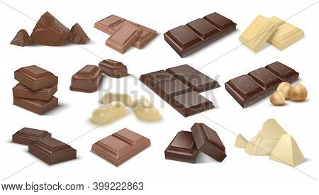 Dark And Milky Chocolate Pieces. Realistic 3d Cocoa Dessert. Confectionery With Nuts, Isolated Sweet