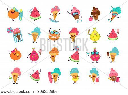 Ice Cream Funny Stickers. Cartoon Food Mascot With Anthropomorphic Faces And Limbs. Isolated Collect