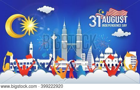 31 August. Vector Illustration Of Malaysia Independence Day Celebration With City Skyline, Malaysia