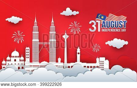 Vector Illustration Of 31st August Malaysia Independence Day Celebration With City Skyline, Malaysia