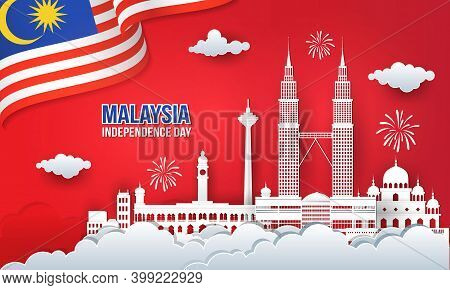 Vector Illustration Of Malaysia Independence Day Celebration With City Skyline, Malaysia Flag And Fi