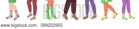 Pairs Of Legs In Socks. Cartoon Male And Female Underwear. Colorful Cozy Footwear With Abstract Geom