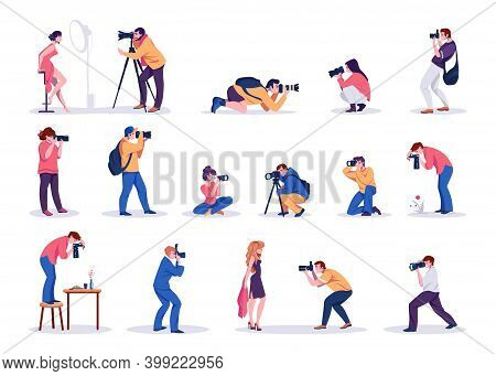 Photographers. Cartoon Young Men And Women Shoot Photographs. People Taking Pictures Of Celebrity An