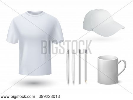 Souvenirs Mockup. Realistic White T-shirt And Cap, Mug And Pens. 3d Blank Templates For Brand Identi