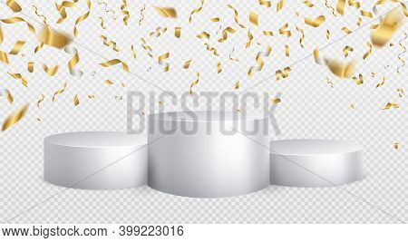 Winner Podium Golden Confetti Background. White Cylinder Podium Realistic Mockup. First Second Third