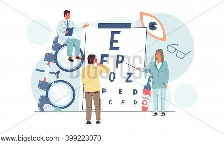 Ophthalmology. Vision Examination. Eye Care And Medical Correction. Ophthalmologist Check Or Selecti