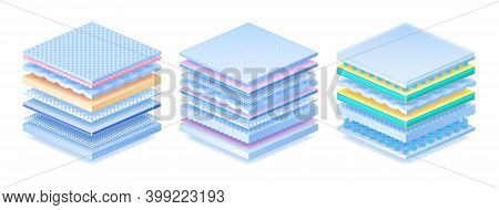 Layered Material. Realistic Orthopedic Mattress, Baby Diaper Or Sanitary Pad. 3d Advertising Models.