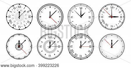 Clock. Realistic Watches, Circle Dial With Roman Numbers And Arrows. Isolated Retro Chronometer Desi