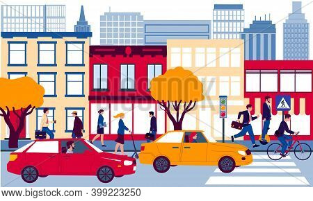 City Street. Cartoon Urban Landscape. Men And Women Walking Or Driving To Work. People Riding Scoote