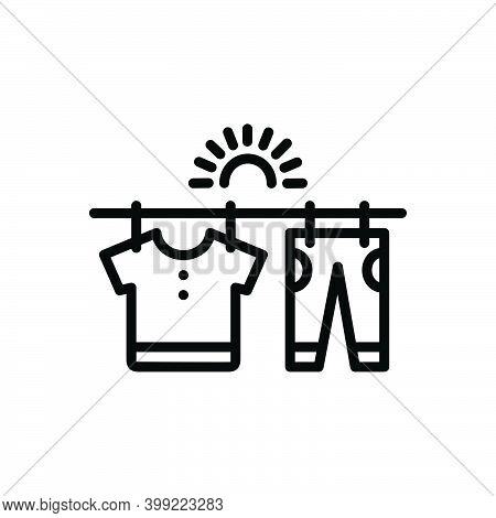 Black Line Icon For Dry Drained Scrawny Clothe Detergent Dryer Sun Hanger Cleaner Wash Housework