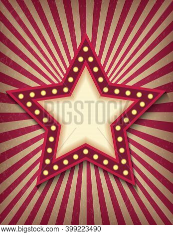 Brightly Glowing Star Retro Cinema Neon Sign. Circus Style Show Vertical Banner Template. Background
