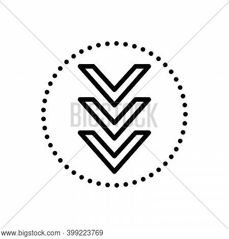 Black Line Icon For Down Below Under Beneath Underneath Arrow Download Downward