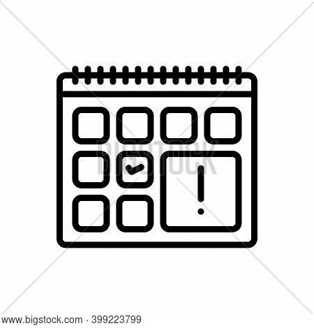 Black Line Icon For Due Analysis Day Month Calendar Appointment Demand