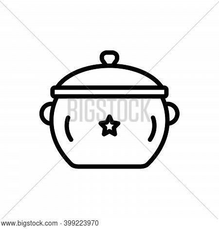 Black Line Icon For Pot Utensil Casserole Vessel Steamship Accessory Appliance Cookery Cuisine Culin
