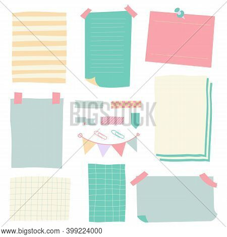 Sticky Paper Notes. Notepaper Sheet, Paper Memo Colorful Stickers, Sticky Business Post Pin Note Iso