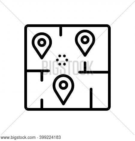 Black Line Icon For Area Range Navigation Marker Map Neighborhood Sector Zone Locality Region Territ