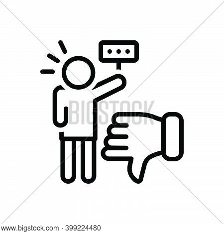Black Line Icon For Critic Authority Commentator Columnist Vote Reviewer Customer Review Dislike Int