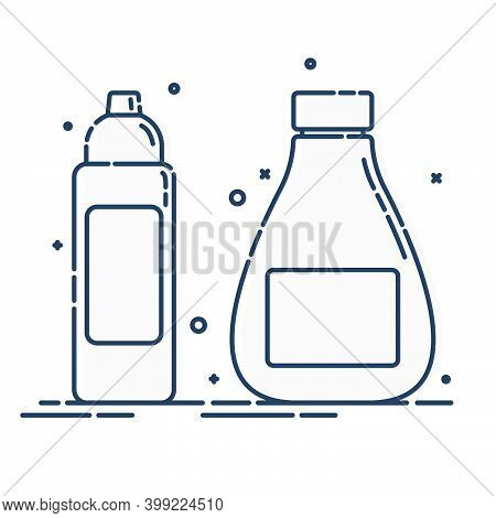 Cosmetic Container. Body Care Hygiene. Illustration Bottle. Two Plastic Cosmetic Jar Product. Beauty