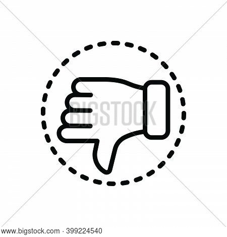 Black Line Icon For Critic Hatred Hate Detest Detractor Reviewer Customer Review Dislike