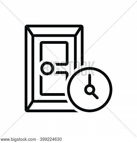 Black Line Icon For During At-the-time Entrance Gateway Inlet Door Approach Inside Doorway Exit Entr