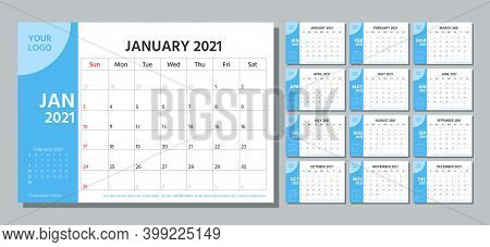 Planner 2021 Year. Calendar Template. Week Starts Sunday. Vector. Yearly Stationery Organizer. Table