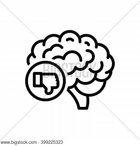 Black Line Icon For Criticism Brainstorm Concept Critic Intellectual Think Unlike Thumb-down Negativ