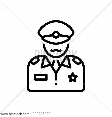 Black Line Icon For Commander Patriot People Commandant Director Officer Soldier Military Army Defen