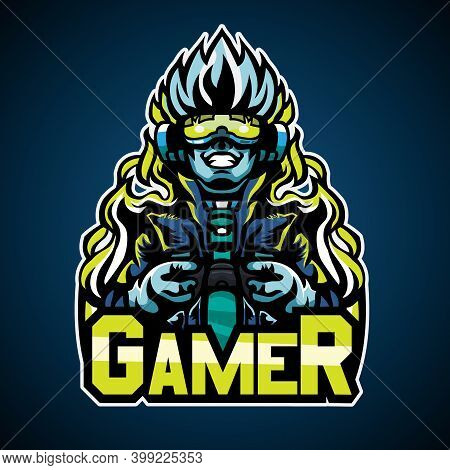 Gamer Cyberpunk Style, Mascot Logo, Vector Illustration. The Cool Logo Suitable For E Sport Team And