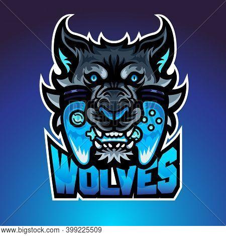 The Wolf Bite Joypad, Mascot Logo, Vector Illustraion. The Cool Logo That Suitable For Esport Team O