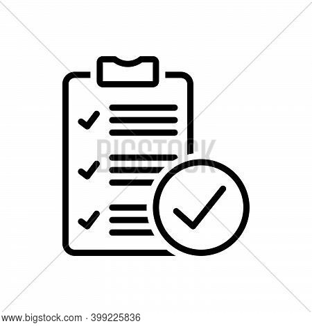 Black Line Icon For True Document Review Correct Right Accurate Veracious Acceptance Approved Confir