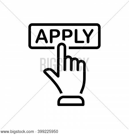 Black Line Icon For Apply Registration Online Application Register Submit Subscription