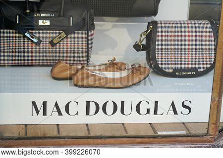 Bordeaux , Aquitaine  France - 12 12 2020 : Mac Douglas Logo And Sign Text On Boutique Windows Luxur