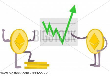 Ethereum Growth. Ethereum Growth Graph. Green Arrow Up. Ethereum Index Rating Go Up On Exchange Mark