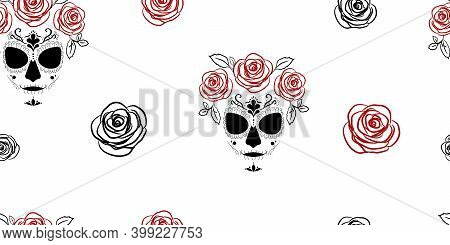 Deadly Image Of Santa Muerte With Roses. Seamless Pattern For Fashion Prints, Fabrics, Wrapping Pape
