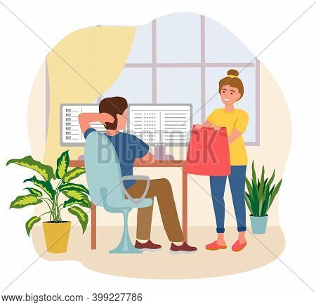 Remote Work Disadvantages. Pretty Woman Distracting Man From Work Vector Flat Illustration. Modern M
