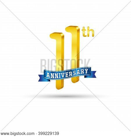 11th Golden Anniversary Logo With Blue Ribbon Isolated On White Background. 3d Gold Anniversary Logo
