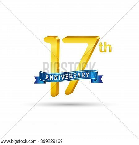 17th Golden Anniversary Logo With Blue Ribbon Isolated On White Background. 3d Gold Anniversary Logo