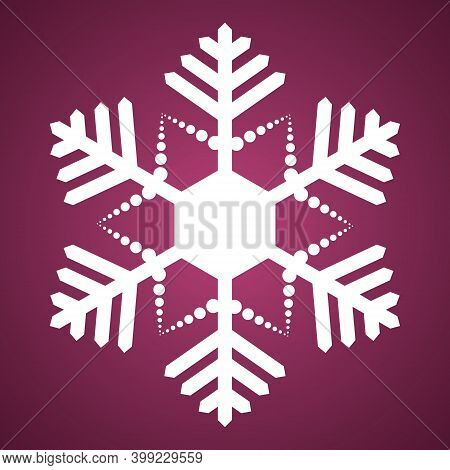 Snowflake. Festive Ornament. Vector Illustration. Isolated Pink Background. Flat Style. A Fragile Cr
