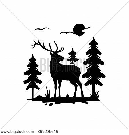 Deer, Male, Horned - Forest Landscape, Wildlife Stencils - Mountain Silhouettes For Cricut, Wildlife